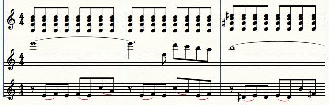 合奏譜上では分かれている