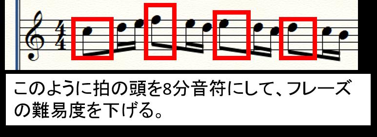 【フレーズを簡単に編曲】拍の頭を省略